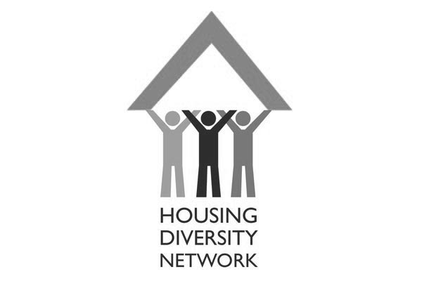 Black and white photo of the Housing Diversity Network logo